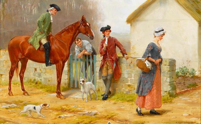 George Goodwin Kilburne, RI, RBA (British, 1839-1924) A difficult passage 25.5 x 40 cm. (10 x 15 3/4