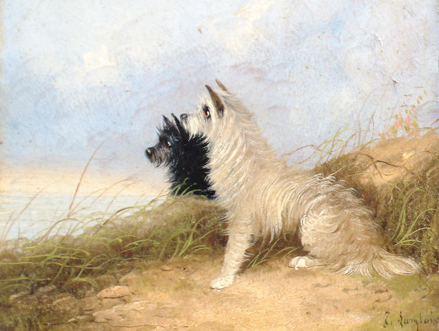 (n/a) J Langlois (British, 19th Century) Terriers in a landscape