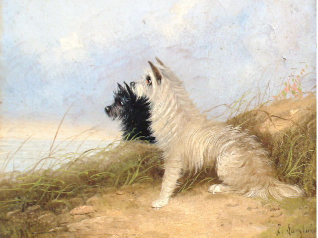 J Langlois (British, 19th Century) Terriers in a landscape
