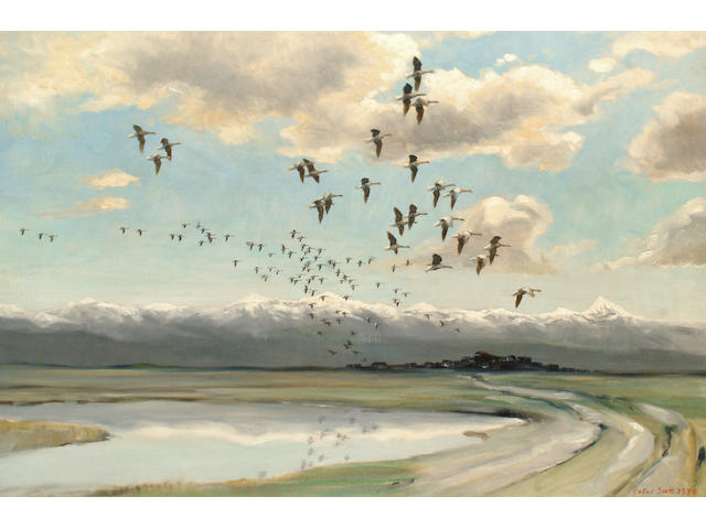 Peter Markham Scott (British, 1909-1989) Geese in flight
