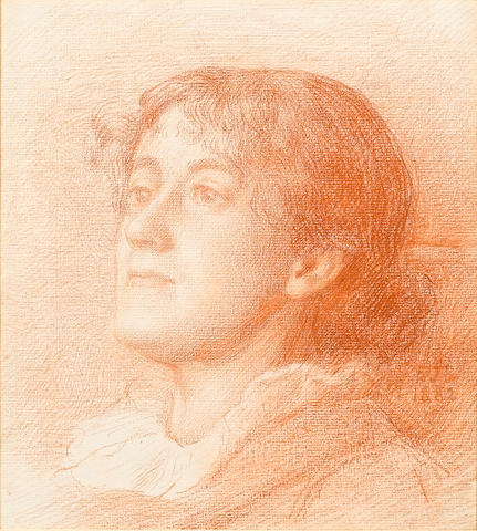 Sir Edward John Poynter (1836-1919) Study of a head of a woman 23.5 x 21.5 cm. (9 1/4 x 8 1/4 in.)
