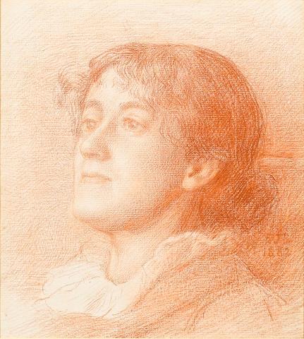 Sir Edward John Poynter (1836-1919) Study of a head of a woman 23.5 x 21.5 cm. (9 1/4 x 8 1/4 in.)