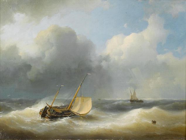 Abraham Hulk (Dutch, 1813-1897) In choppy seas 31.5 x 43 cm. (12 1/2 x 17 in.)