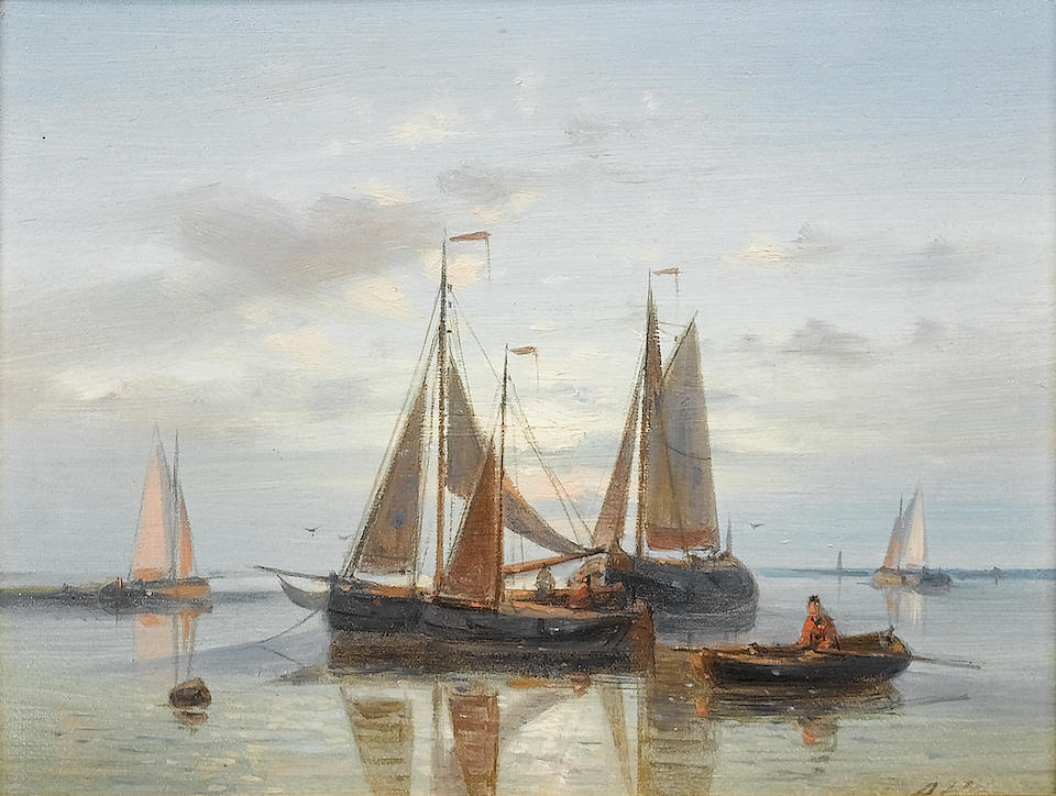 Abraham Hulk (Dutch, 1813-1897) Shipping in a calm; A stiff breeze each 15.3 x 20.5 cm. (6 x 8 in.)