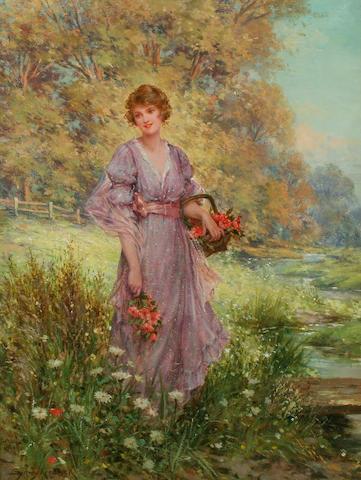 "Sydney Percy Kendrick (British, 1874-1955) ""Gathering Harebells"","