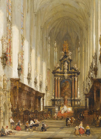 David Roberts, R.A. (British, 1796-1864) The interior of St Paul's at Antwerp 51 x 35 cm. (20 x 13 3