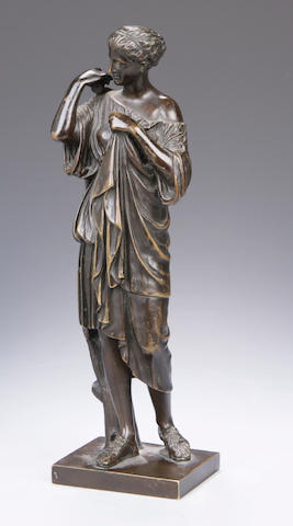 A 19th century bronze figure of a classical maiden