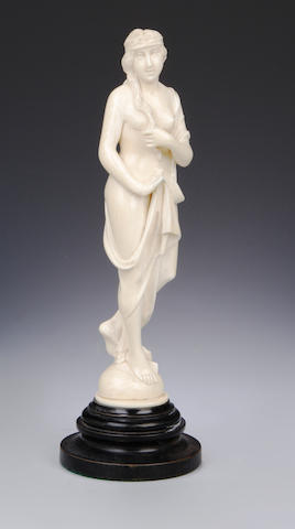 A late 19th century ivory art noveau female figure