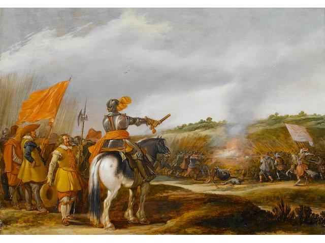 Esaias van de Velde (Amsterdam 1587-1630 The Hague) A mounted general addressing his troops,
