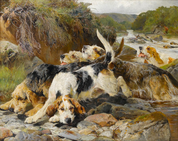 John Sargent Noble, RBA (British, 1848-1896) Otterhounds in pursuit 102 x 128 cm. (40 x 50 1/4 in.)