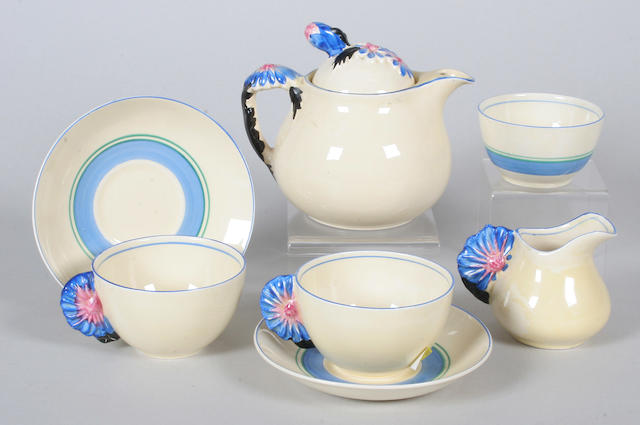 A Clarice Cliff 'Marguerite' tea for two set