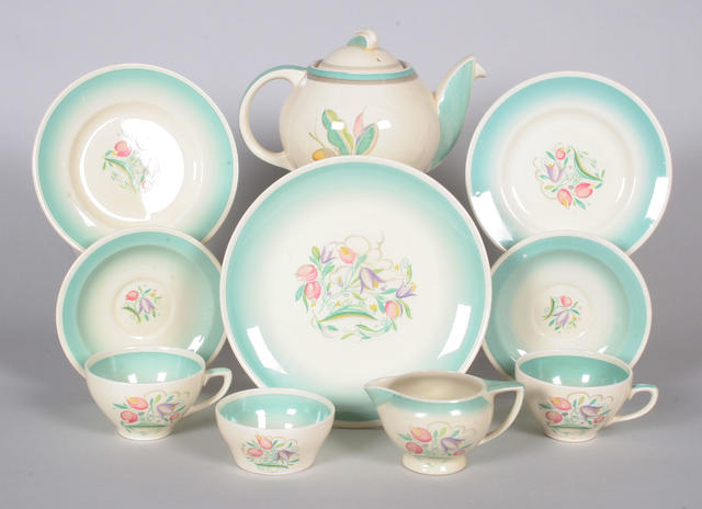 A Susie Cooper teapot and cover and a Susie Cooper part tea service