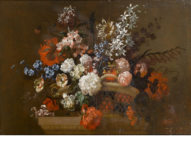 Attributed to Pieter Casteels III (Antwerp 1684-1749 Richmond) Chrysanthemums, anenomes, roses, popp