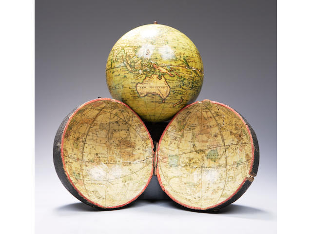A Charles Smith & Son 4-inch pocket globe, dated 1834,
