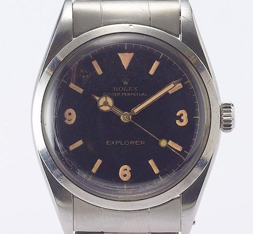 Rolex. A fine and rare stainless steel automatic centre seconds wristwatchExplorer, Ref:6150 circa 1953