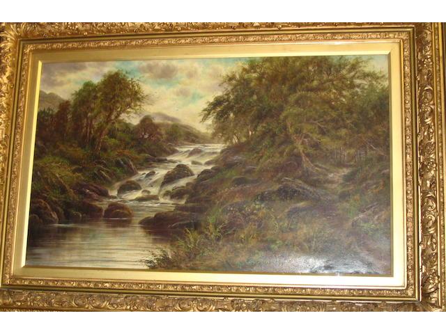 A large decorative landscape oil by J* Jones