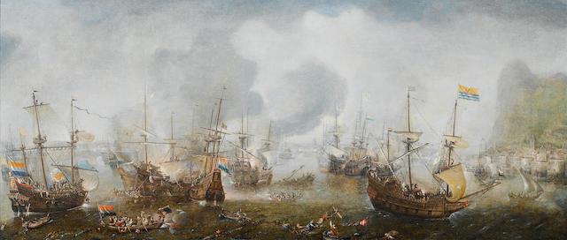 Cornelis Claesz. van Wieringen (Haarlem circa 1580-1633) The Battle of Gibraltar, 1607 48.6 x 114.8 cm. (19 1/8 x 45 1/8 in.)