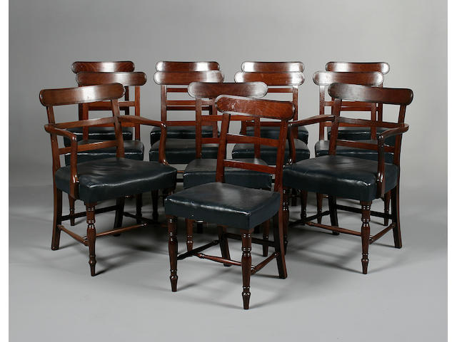 A set of twelve late Regency mahogany dining chairs