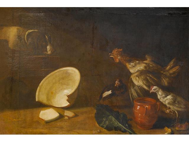 Arcangelo Resani (Rome 1670-1740) A spaniel surprising cockerels