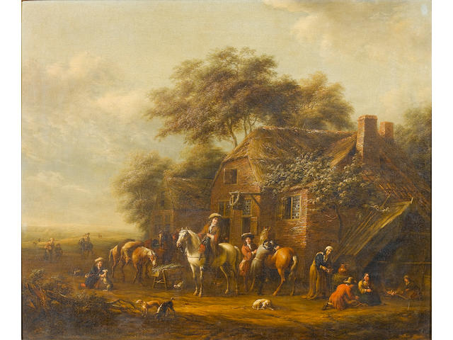 Barend Gael (Haarlem circa 1635-1698) Huntsmen and their dogs outside a country inn 65.3 x 77.2 cm.