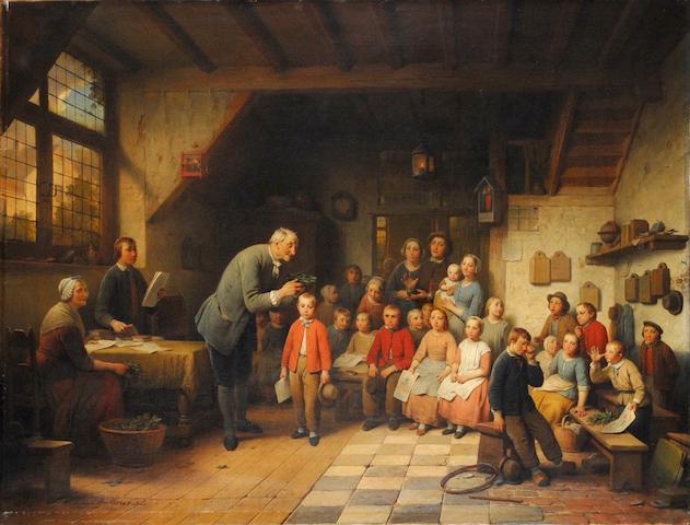 Ferdinand de Braekeleer (Belgian, 1792-1883) La récompense 74.5 x 97.5 cm. (29 1/4 x 38 1/4 in.)