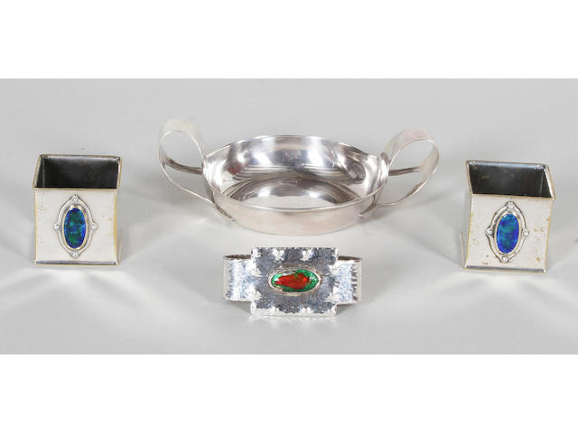 An Arts and Crafts silver twin handled porringer, by S. Blanckensee and Sons Ltd., Chester, circa 1910,
