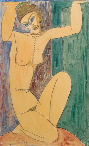 Cariatide by Modigliani, 1913, gouache, watercolour, pencil on paper; 43.1 x 26.4cm