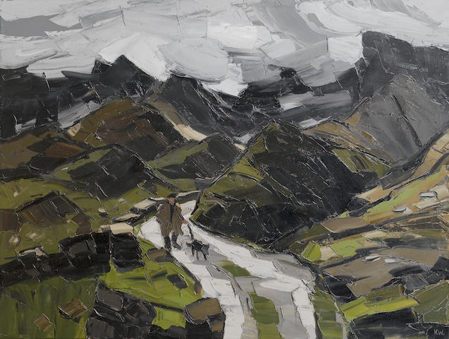 Sir Kyffin Williams  (British, 1918-2006) Rain in Nant Ffrancon, 91.5 x 122 cm. (36 x 48 in.)