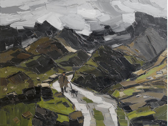 Sir Kyffin Williams  (British, 1918-2006) Rain in Nant Ffrancon 91.5 x 122 cm. (36 x 48 in.)