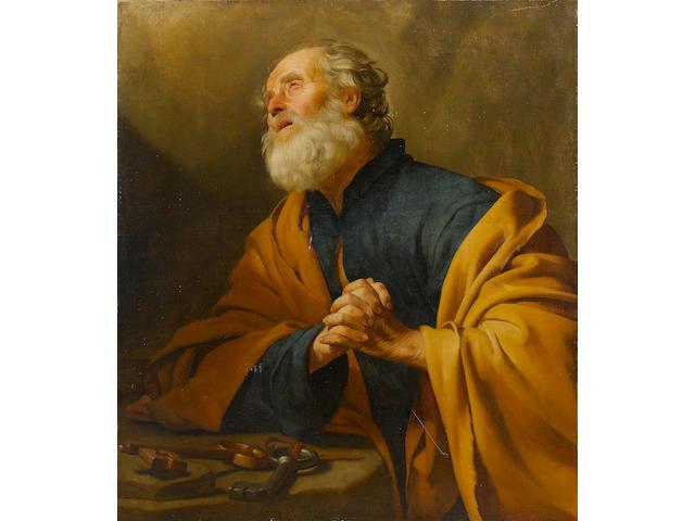 Gerrit van Honthorst (Utrecht 1590-1656) Saint Peter penitent 109.5 x 97.5 cm. (43 1/8 x 38 3/8 in.)