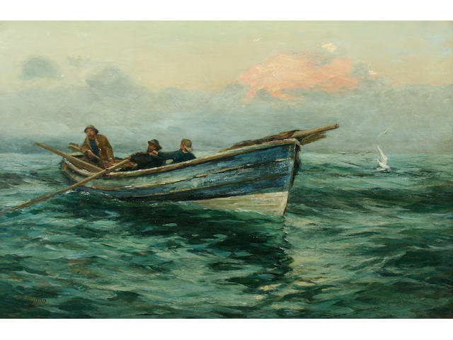 R Jobling, Three fishermen in boat, oil on canvas, signed