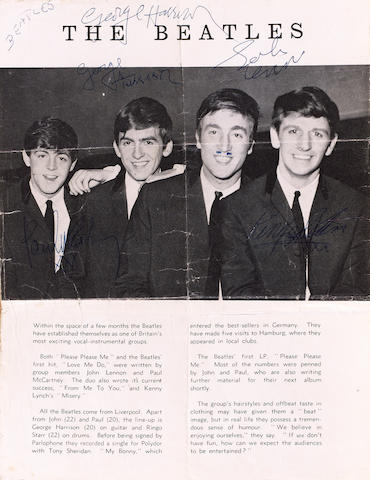 A magazine page autographed by the Beatles, 1963,