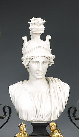 A decorative resin bust of Minerva