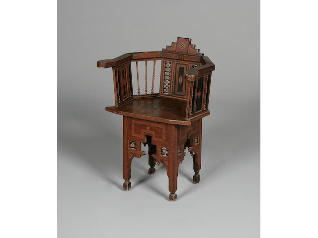A 19th century Syrian parquetry inlaid and ebonised armchair