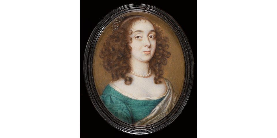 (n/a) John Hoskins (British, circa 1590-1664) A Lady, wearing green water-silk dress with white underslip, patterned silver-grey cloak over her left shoulder, pearl necklace and further smaller pearls decorating the bun of her hair worn in curls