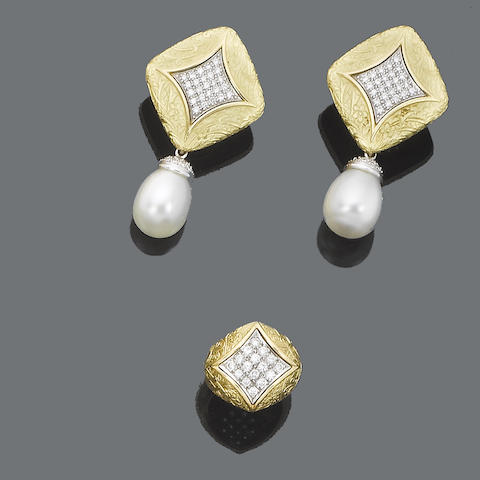 A pair of cultured pearl and diamond earclips and a diamond ring, by Stephen Webster