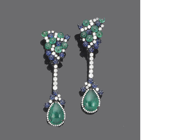 A pair of emerald, sapphire and diamond pendent earclips