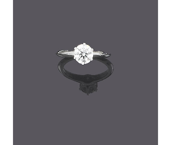 A diamond single-stone ring, by Tiffany & Co.