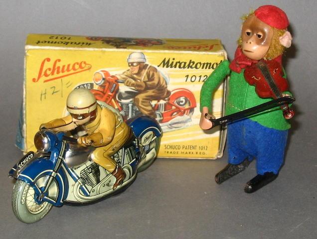Schuco (U.S Zone) 1012 Mirakomot motorcyclist and violin playing monkey, 2