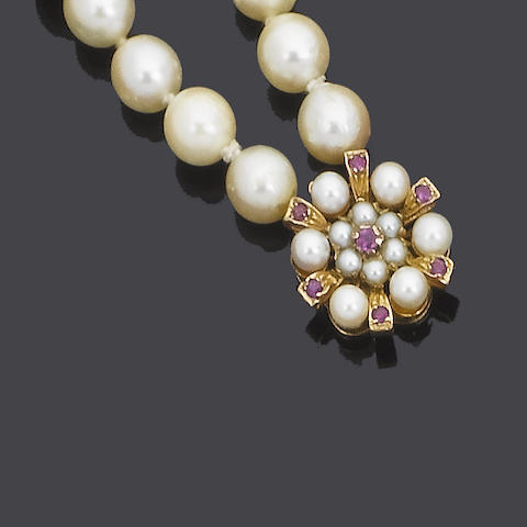 A cultured pearl and ruby necklace,