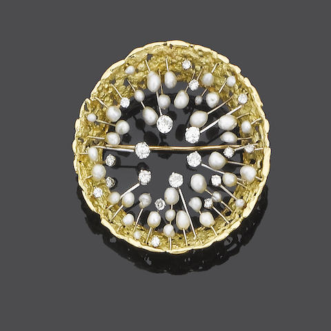 A gold, diamond and cultured pearl brooch, by John Donald,