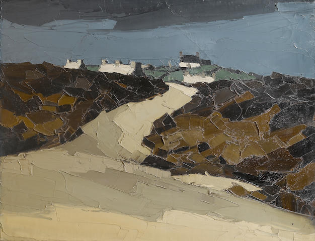 Sir Kyffin Williams, R.A. (British, 1918-2006) Cottages in a landscape 70.5 x 91 cm. (27 3/4 x 35 3/4 in.)