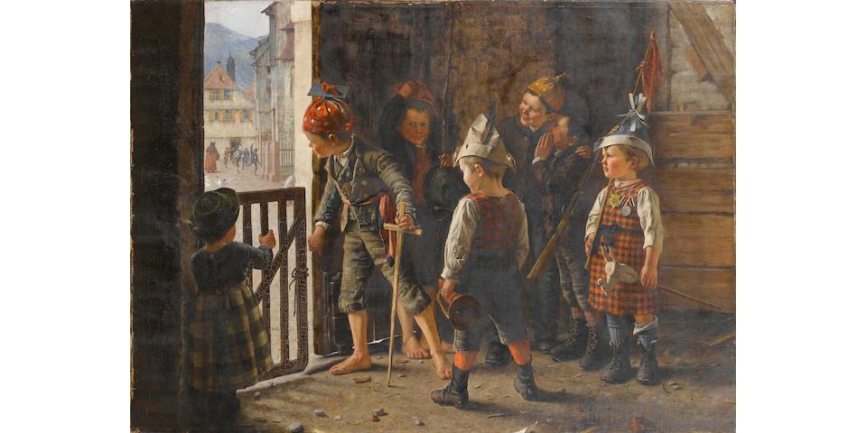 Theodore Kleehaas (German, 1854-1929) Preparing the attack 90.5 x 125.5 cm. (35 1/2 x 49 1/2 in.)