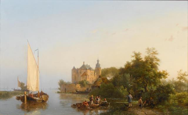 Hermanus Koekkoek, Snr (Dutch, 1815-1882) Fishing near a castle 36 x 57.5 cm. (14 1/4 x 22 1/2 in.)