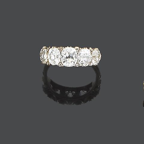 A late 19th century diamond five-stone ring,