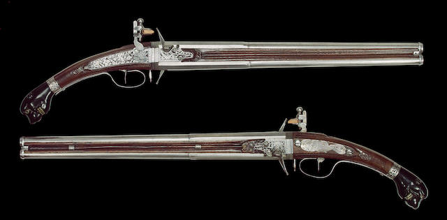 A Rare Pair OF 28-Bore Dutch Long Flintlock Wender Pistols
