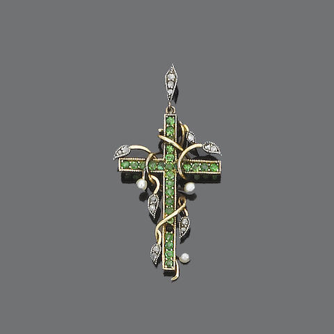 A demantoid garnet, diamond and seed pearl cross pendant,