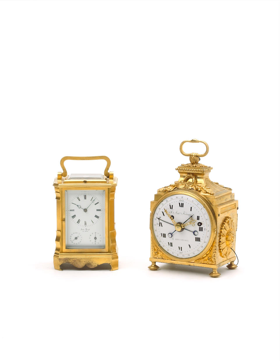A late 19th century French gilt brass grande-sonnerie striking carriage clock Numbered 6214