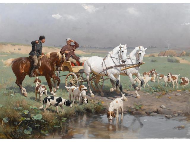 Sigismund Ajdukiewicz (Austrian, 1861-1917) The halt 56 x 77.5 cm. (22 x 30 1/2 in.)