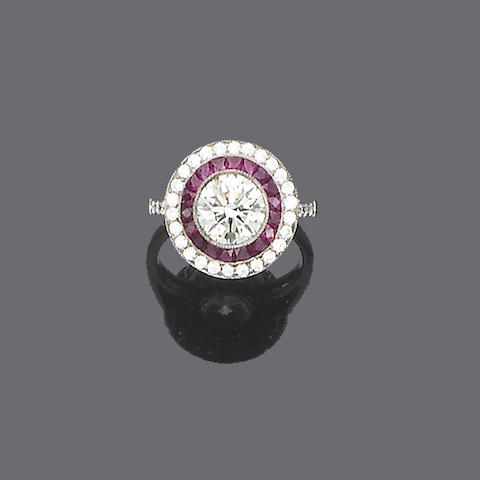 A diamond and ruby target cluster ring